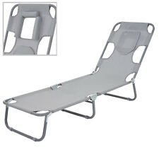 Chaise longue de jardin HWC-B11, fonction position sur le ventre, tissu ~ gris