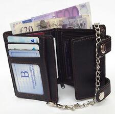 Negro Para Hombre caballeros de calidad superior de cuero Tarjeta notas Zip Wallet Cartera Con Cadena del Reino Unido