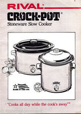 Vintage 1982 Rival Stoneware Slow Cooker Owner's Manual Only with Recipes & Tips