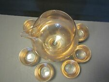 West Virginia Glass 7 pc set Roly Poly goblets & MIXER Atomic Gold speckles Vtg