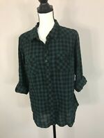 Torrid Women's Plaid Camper Shirt Button Front Long Roll Up Sleeve Size 00 Green