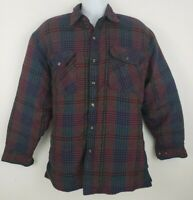 Vtg Branded Lion Plaid Flannel Long Sleeve Shirt Jacket Button-up Size L