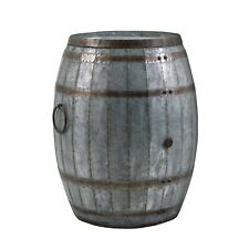 Drum Shape Metal Wine StorageTable With Removable Lid, Rustic