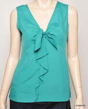 Nwt $158 Tahari ROSEANNE Tunic Top Tank Shirt Blouse Cami Peacock Green M