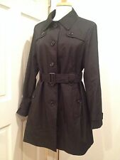 Tommy Hilfiger Trench Belted Raincoat Coat Jacket Water Resistant Black L NWT