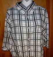 Men's Mecca Plaid Short Sleeve Shirt ~ 100% Cotton ~ Size XXXL