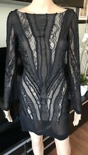 Roberto Cavalli Runway Sexy Embellished Sheer Dress IT 40 STUNNING!!!