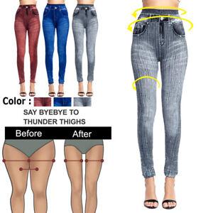 Women Stretchy Imitation Denim Jeans High Waist Slim Leggings Pencil Pants