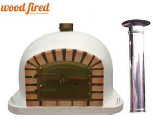 outdoor wood fired Pizza oven 100cm white Deluxe model chimney & cap