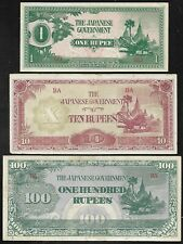 Burma - WWII Japan Invation Money (JIM) 1-10-100 Rupees - XF to Unc.