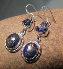 Sterling silver lapis lazuli in copper & rough azurite earrings. Gift bag