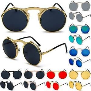 Steampunk Metall Runden Flip Sonnenbrille Herren Damen Retro Reise Rundbrille