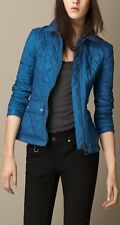NWT BURBERRY BRIT WOMENS BLUE QUILTED CHECK COAT JACKET SZ SMALL