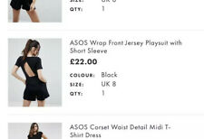 Asos Design Jersey Playsuit Jumpsuit Summer Black Size 8 New With Tags RRP £22
