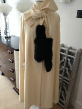 Vintage pale cream ivory wool cape with real fur black trim coat