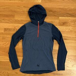Icebreaker GT 200 Merino Womens Medium 1/2 Zip Blue Hoodie Long Sleeve Holes*
