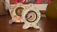 Two Antique Porcelain Floral Clocks Mercedes Made in Germany