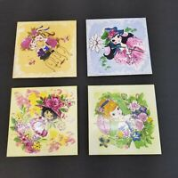 VINTAGE FM Hand Painted Tiles Lot of 4 Japan Fujimiyaki Little Girls Room