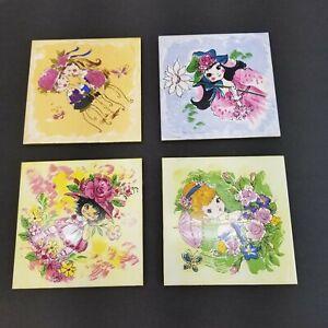 VINTAGE FM Hand Painted Tiles Lot of 4 Japan Fujimiyaki Little Girls Room