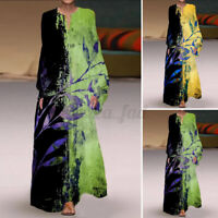 ZANZEA 8-24 Women Full Length Long Maxi Dress Kaftan Abaya Printed Floral Dress