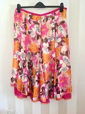 East 100% Silk Fully Pink Lined Multi Colour Heavy Lace Detail Skirt Size-16 New