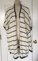 Loft Women's Ivory w Black Stripes Open Front Batwing Sweater Cardigan Size S/M