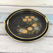 Japanese Lacquer Ware Trays Pair Black Round Gold MAKIE Flowers Barware MCM