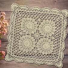 """Vintage Hand Crochet Lace Doily Square Table Topper Small Tablecloth 17"""" Pattern"""