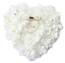 Nuovo Cuscino Matrimonio Bianco Rose Forma Cuore Per Anelli Nozze Porta Fedi