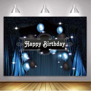 Happy Birthday Backdrop Glitter Retro Blue Draper Backdrops Birthday Party Decor