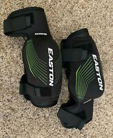 Easton Stealth 55S Hockey Elbow Pads Size Junior Medium Black & Green Stripes