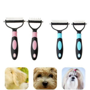 Pet Grooming Rake Hair Fur Shedding Dual Sided Comb Brush Tool For Cat Dog