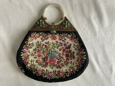 Antique Chinese Ladies purse with White Jade Bangle handle Circa 1920