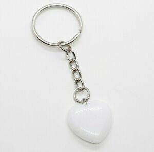 Selenite Crystal Pendant Heart Keyring Gemstone Natural Love Healing Chakra