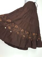 Cotton Tiered Maxi Skirt 14 16 Brown Folk Boho Gypsy Peasant Wiccan lagenlook