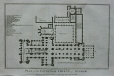 Original antique print PLAN OF DURHAM CATHEDRAL, BOSWELL 1786