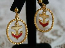 Vintage Avon Nautical Drop Anchor Gold Tone Cream and Red Enamel Clip Earrings
