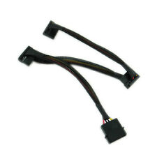 18 inch 4pin Molex to Triple 90 Degree SATA 15pin Power Cable Black Sleeved