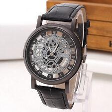 Luxury Men's Skeleton Stainless Steel Hollow Leather Analog Quartz Wrist Watch