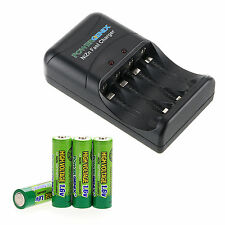 Lot of 4pcs Nizn 1.6V 2500mWh AA Battery With PowerGenix ZR-PGX1HRAA-4B Charger