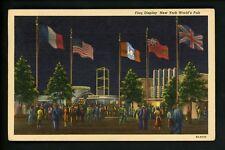 World's Fair postcard New York 1939 NY linen Curt Teich Flag Display at Night