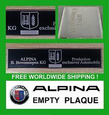 BMW Alpina Empty retro Dash Plate Plaque E12 E21 E24 E30