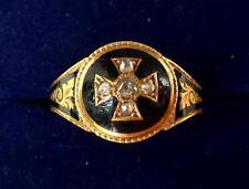 Rare 15ct gold victorian rose cut Diamond memorial iron cross ring