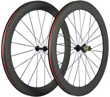 60mm Depth Carbon Wheels Bicycle Clincher Wheelset Campagnolo Hub 23mm Width