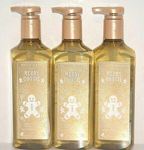 3 BATH & BODY WORKS WHITE BARN MERRY COOKIE GENTLE GEL HAND SOAP WASH 8 OZ EACH