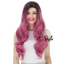70CM Women's Long Curl Full Heat Resistant Black Ombre Pink Party Wig + Wig Cap