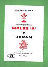 "#Bb. 1993 Wales""A"" v Japan Rugby Union Program"