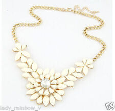 Hot Fashion Cheese White Resin Drop Leaf Flower Choker Bib Statement Necklace