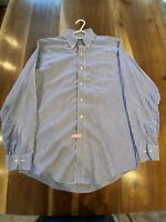 Brooks Brothers Non Iron Dress Shirt Blue White Striped Slim Fit 15-33