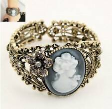Vintage Victorian Carving Queen Statue Bangle Maiden Cuff Cameo Bracelet
